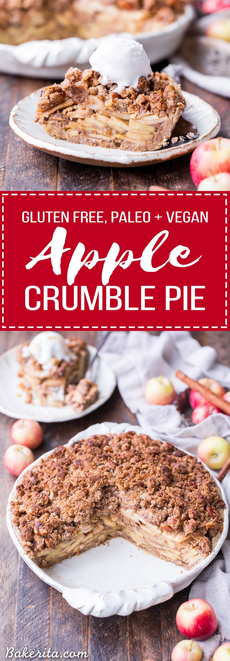 This Apple Crumble Pie is so delicious it's bound to be a holiday dessert staple! This gluten free, paleo + vegan pie is filled with soft, caramelized apples and topped with a nutty, crunchy paleo crumble topping. #ad @bobsredmill