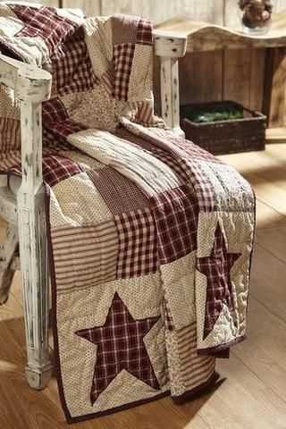 Cheston Primitive Star Quilted Throw - Primitive Star Quilt Shop - 1