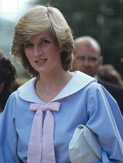DAY 6 STIRLING OVAL ADELAIDE AUSTRALIA WALKABOUT IN ARABELLA POLLEN BLUE COTTON SAILOR DRESS WITH WHITE ROUND COLLAR AND PALE PINK BOW 26 MARCH 1983