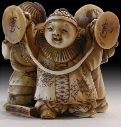 【政之 Masayuki】Large Antique Japanese Ivory Netsuke  Three Karako Matsuri-bayashi  Signature: Masayuki, Circa: 19th century