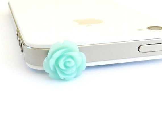 Aqua Rose iPhone & Cell Phone Dust Plug- Universal Anti-Dust Plug For Headphone Jack- Cellphone/ iPhone Accessories  Dust plugs are so adorable !