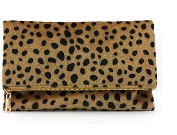 Pre-Order -- Foldover Leopard Clutch - Willow Blaire