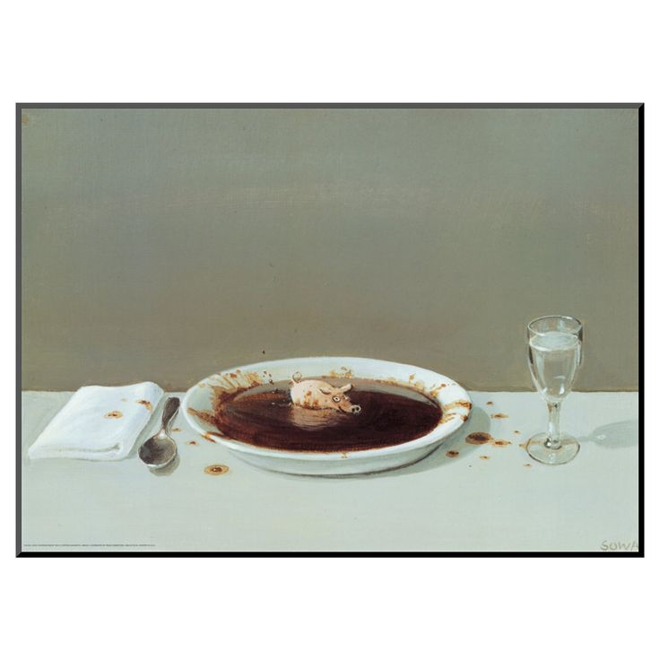 Art.com - Pig in Soup by Michael Sowa - Mounted Print, Black