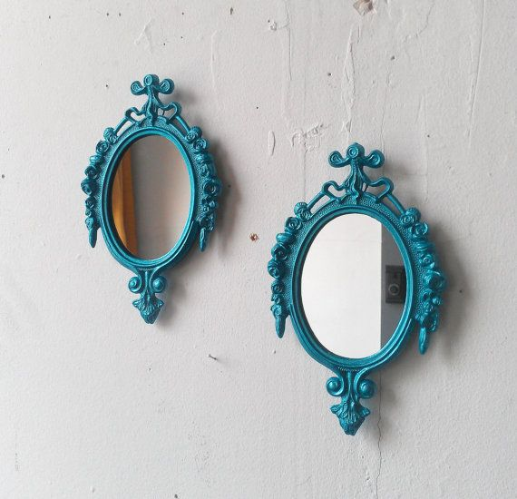 Teal Home Decor Small Mirror Set, Hallway Decor, Wall Collage Frames, Home Decorating, Cubicle Decor, Mid Century Modern
