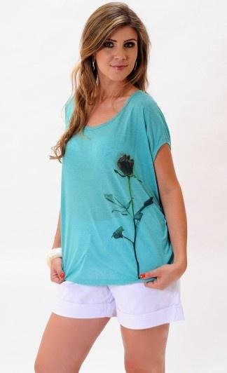 #azul #branco #flores #shorts