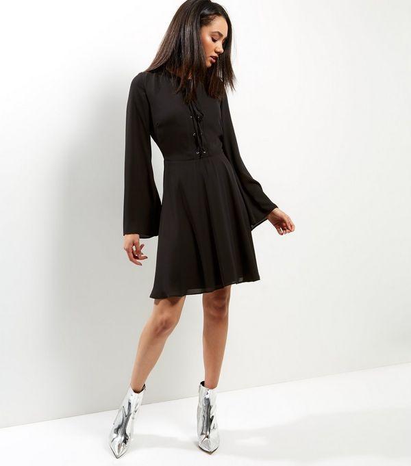 Black Lattice Front Eyelet Trim Flared Sleeve Dress | New Look