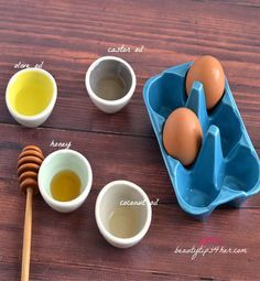 Grow longer hair faster  1 egg 2 Tbsp of olive oil 2 Tbsp of honey/coconut oil  1 Tbsp of castor oil Apply to hair for 30 min Massage your scalp as you wash it out to promote blood flow Repeat once a week.