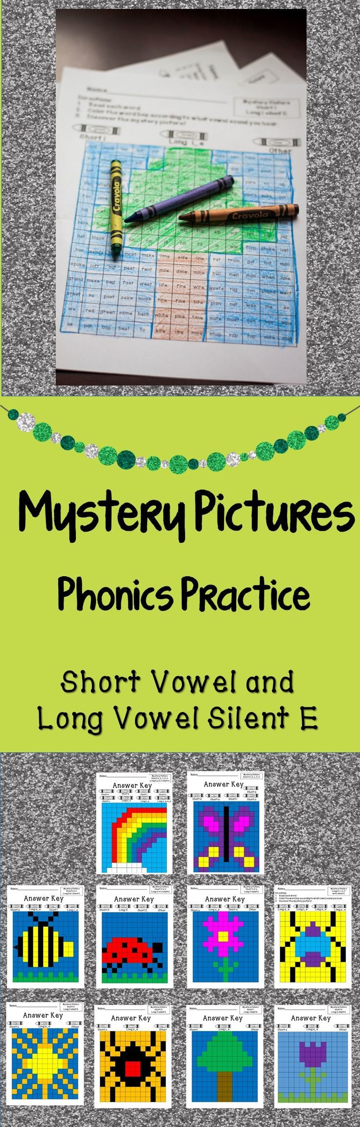 Phonics Worksheets Short Vowel and Silent E Practice Mystery Pictures