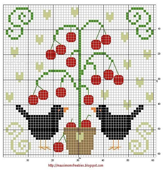 adorable free blackbird and cherry (?) tree cross stitch