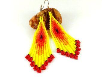 Pendientes de abalorios amarillo rojo pendientes semilla grano estilo indio cuentas pendientes de Beadwoven pendientes de abalorios joyas joyería amarillo largo