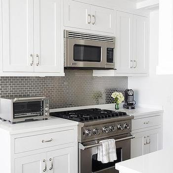 kitchen with gray mini brick tile backsplash transitional kitchen - Schwarzweimosaikfliese Backsplash