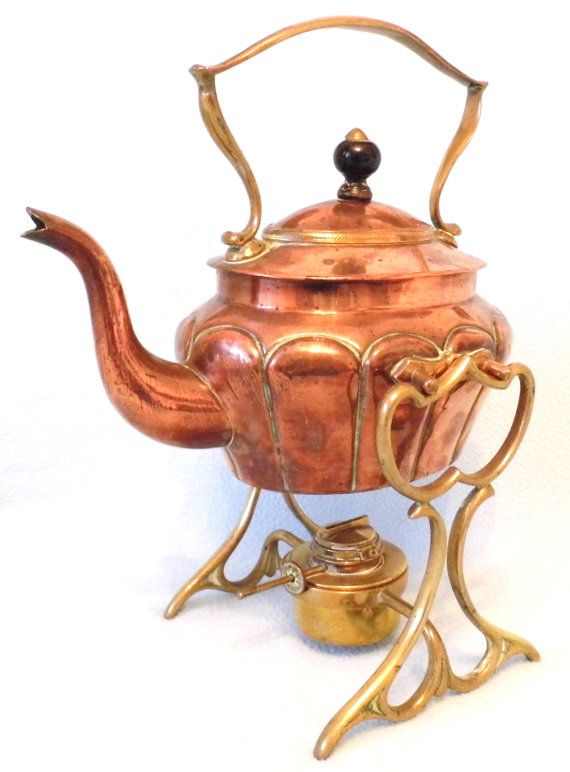 Stunning Arts and Crafts Copper and Brass Spirit Kettle with Stand, Stylish Item, Hand Made, Collectible, Late Victorian in Date, Home Decor