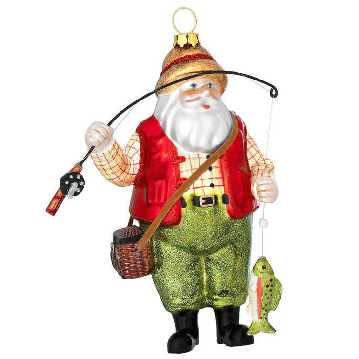 un a bated d our fishing santa ornament is sure to lure