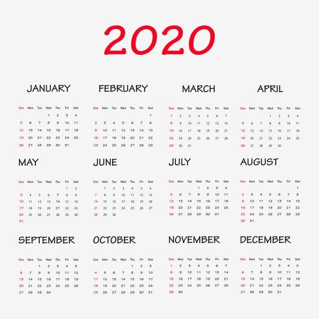 Calendar 2020 Clipart Png Vector Element Calendar Calendar2020 Bullet Journal Png And Vector With Transparent Background For Free Download Clip Art Calendar 2020 New Year Calendar