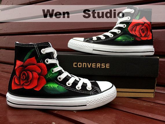 Red Rose Converse Design Rose Custom Shoes Hand Painted Shoes,Converse Shoes,Painted Custom Shoes Painted Custom Converse Canvas Shos Gifts on Etsy, $75.00