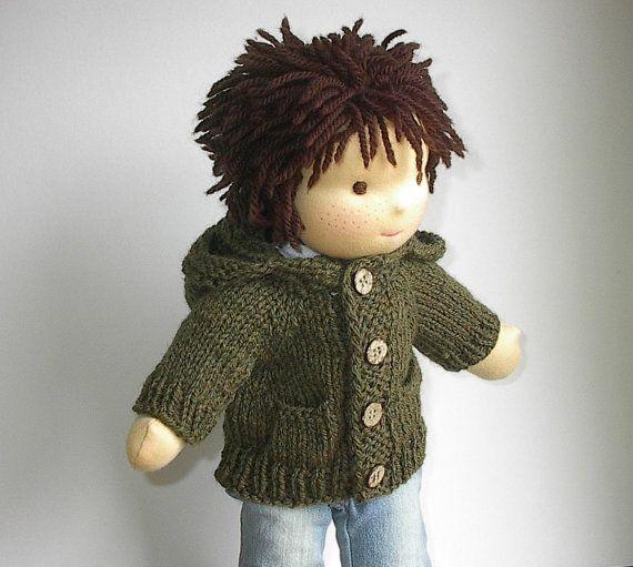 Waldorf Boy Doll Clothes  Handknit Wool Hoodie by Lavenderlore