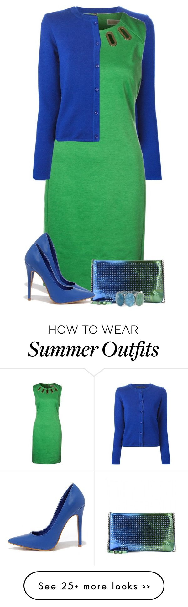 """""""Blue and Green"""" by daiscat on Polyvore featuring Ermanno Scervino, MICHAEL Michael Kors, Christian Louboutin, Shoe Republic LA and Mixit"""