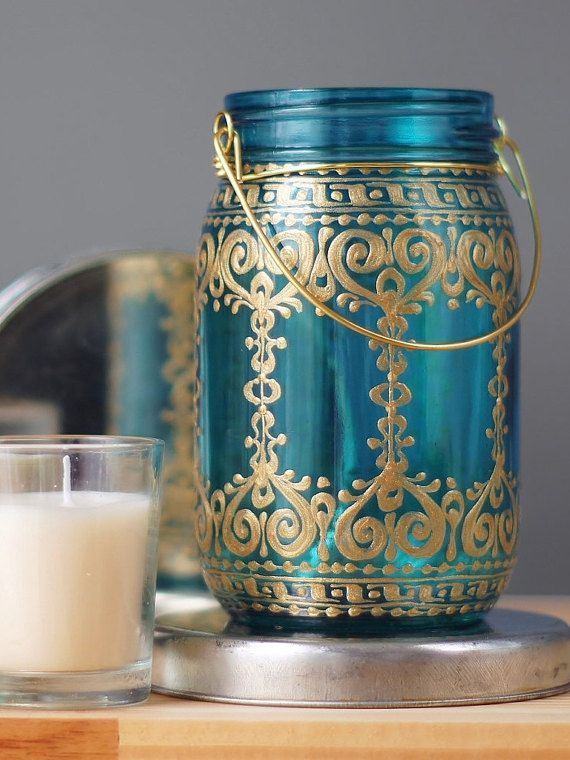 Painted Mason Jar, Teal Blue Glass with Bohemian Golden Design