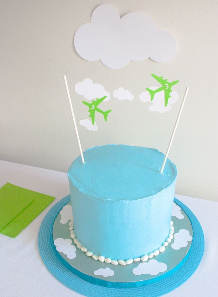 airplane cake topper - could adapt this for other themes too; string a banner with a name, etc.