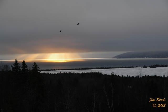 The sun was trying to break through the clouds this morning in Cape Breton. It left us with this beautiful shot! Thank you Jim Steele for sharing this April sunrise with us.