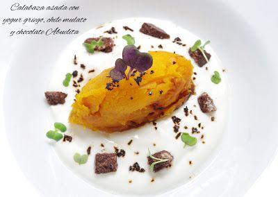 Fentdetutto: Calabaza asada con yogur griego, chile mulato y chocolate Abuelita