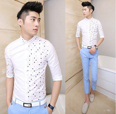 Fashion 2014 Mens Slim Fit Shirts Unique Design Polka Dot Splicing Spring Summer Men Tops  $24.88