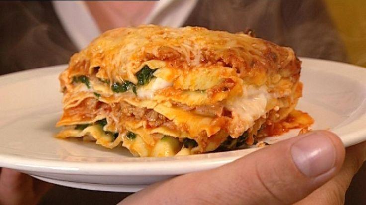 Lasagne met bolognaise, bechamelsaus, spinazie en ham