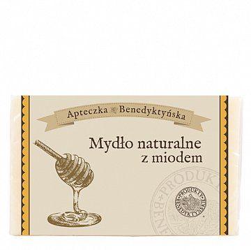 Mydło naturalne z miodem 130 g - Produkty Benedyktyńskie    Mydło miodowe stworzone zostało z naturalnych olejów roślinnych. Ma doskonałe właściwości nawilżające i wygładzające. Mydło miodowe, dzięki zawartości miodu ...