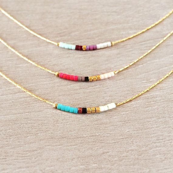 Minimalist Gold Delicate Short Necklace with Tiny Beads // Thin Layering Necklace // Colorful & Simple Boho Necklace