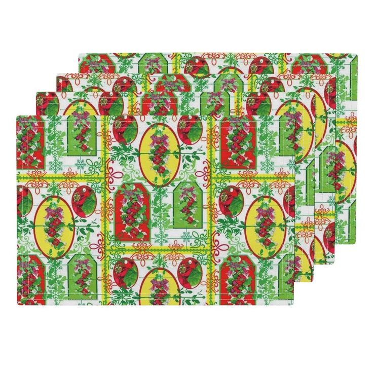 Lamona Cloth Placemats featuring Poinsietta and the colours  of Christmas  by vondy | Roostery Home Decor