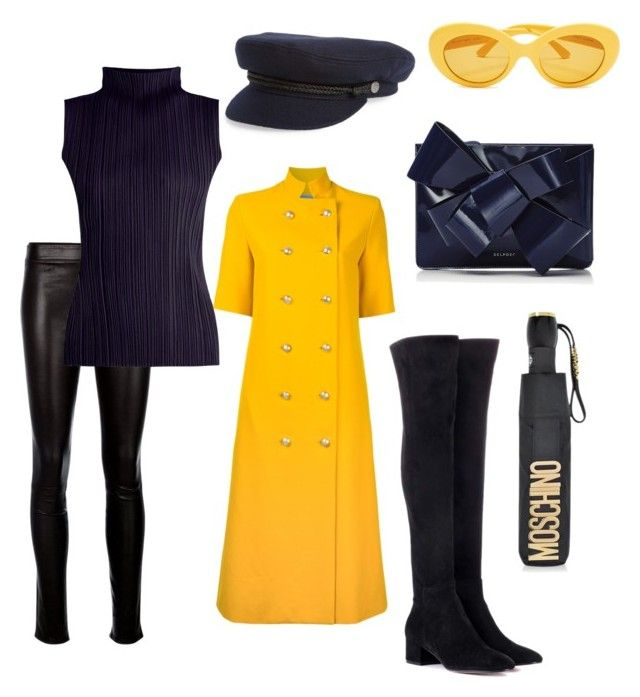 """""""☔️🌞"""" by vira-silvani on Polyvore featuring Gianvito Rossi, Helmut Lang, Pleats Please by Issey Miyake, macgraw, Delpozo, Brixton and Moschino"""