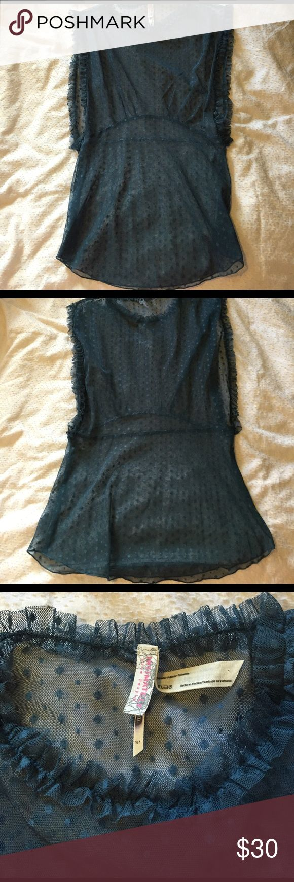 Free People Sheer Polka Dot Tank Teal Intimately Free People sheer polka dot tank. Very beautiful. Black mark on label from store of purchase. Only worn once, condition like new. Free People Tops Blouses