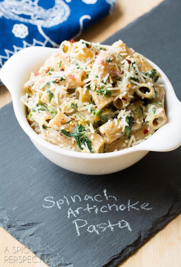 Spinach Artichoke Pasta! #pasta #spinachartichoke #recipe
