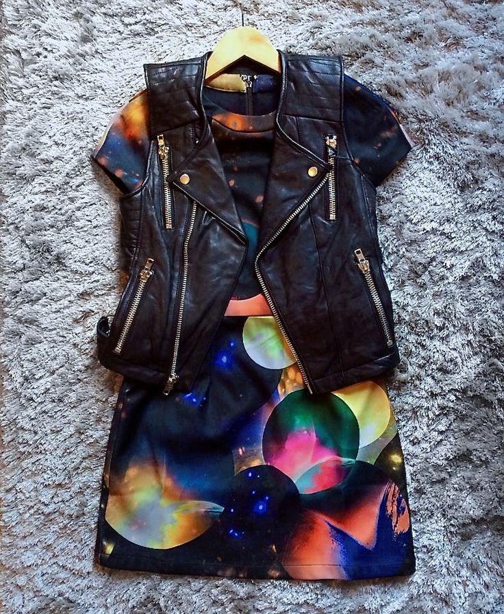 Outerspace badass: Funktional Cosmic Cutout dress + Kill City lambskin vest, all at www.shopblacksalt.com.