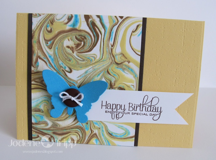 Card Making Ideas And Techniques Part - 15: Made Using The Shaving Cream Marbling Technique.