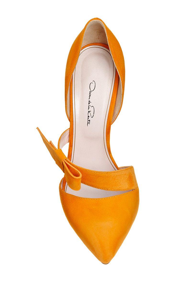 Fauna Tangerine Bow Pump by Oscar de la Renta for Preorder on Moda Operandi