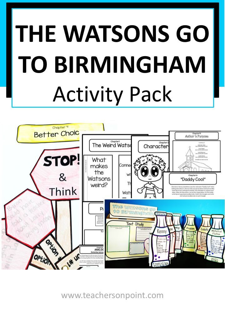 The Watsons Go To Birmingham 1963 Activity Pack English Teaching