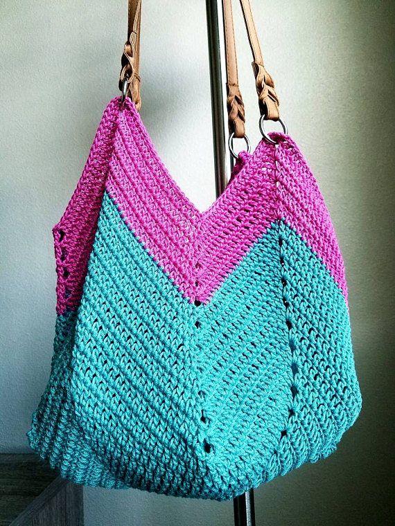 Green pink funky crochet shoulder bag beach bag
