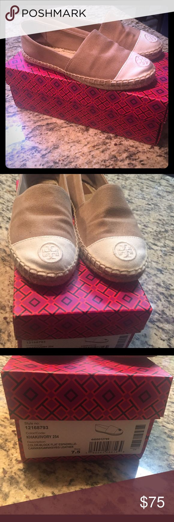 Tory burch espadrilles Perfect for spring and summer . Tan and cream espadrilles . Only worn twice, in great condition Tory Burch Shoes Espadrilles