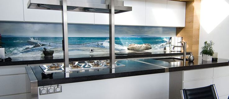 seascape photographic kitchen splashback idea - from the best