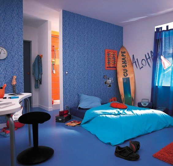 Add a surfer light from dianoche designs to finish off for Surfing bedroom designs