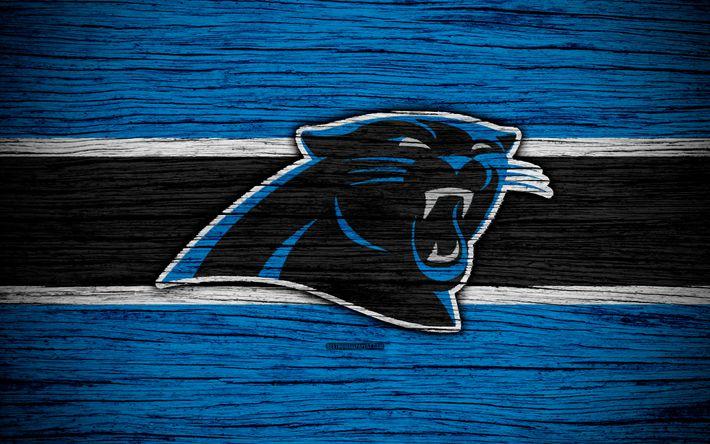 Download wallpapers Carolina Panthers, NFL, 4k, wooden texture, american football, logo, emblem, Charlotte, North Carolina, USA, National Football League, NFC South
