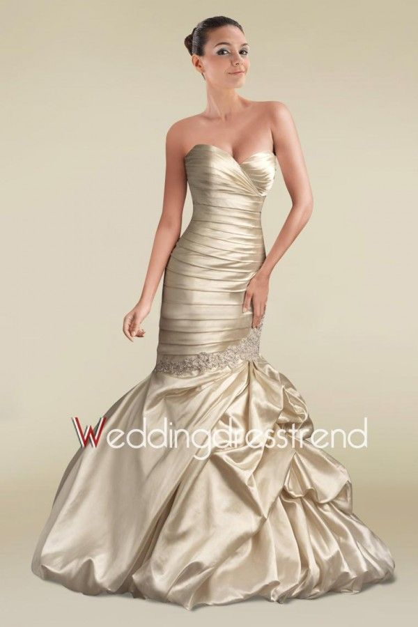 Best Classic Strapless Ruched Ruffled Sweep Train Mermaid Gown - Cheap Wedding Dresses Wholesale and Retail Online Store