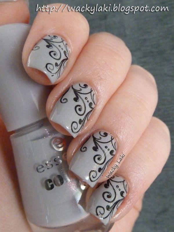 These nails are GORGEOUS!! Courtesy of WackyLaki...Essence Grey-t To Be Here, Wet n Wild Black Cream and Bundle Monster plate BM-314. Love this!