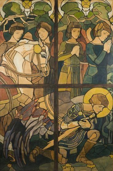 Józef Mehoffer (1869-1946) Archanioł Michał. Karton do witraża w kaplicy zamku w Baranowie.