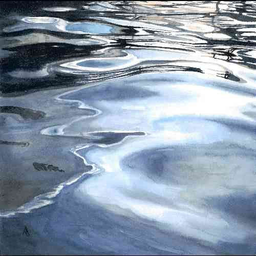 Watercolour painting of the detailed reflections on the surface of a pool