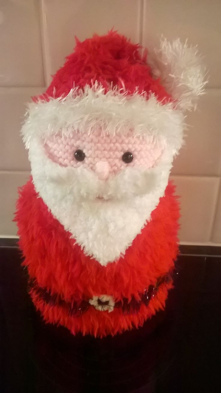 Christmas Santa Knitted toilet roll holder - project on the loveknitting comm...