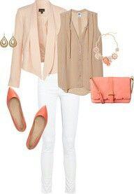 Taupe broek, beige blouse, koraal jasje