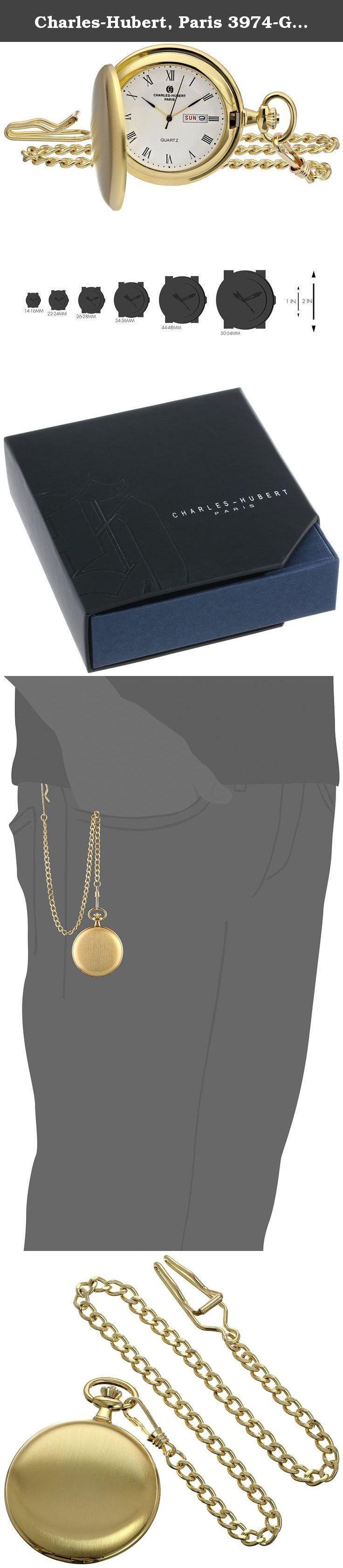 Charles-Hubert, Paris 3974-G Classic Collection Analog Display Japanese Quartz Pocket Watch. Satin finish hunter case. Day and date window. Japanese-quartz Movement. Case Diameter: 47mm. Not Water Resistant.