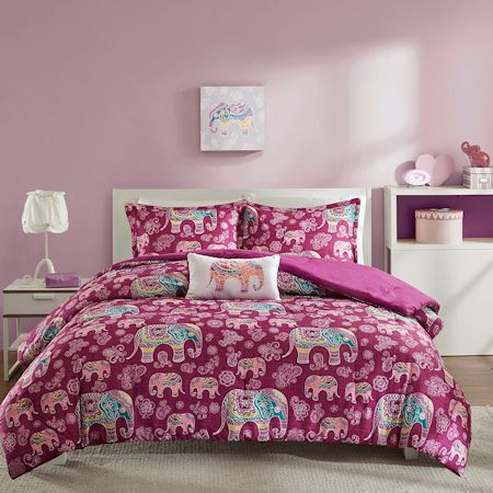 Fuchsia Purple Elephant Bedding for Girls Twin XL Full/Queen Comforter or Quilt Set with Pillow